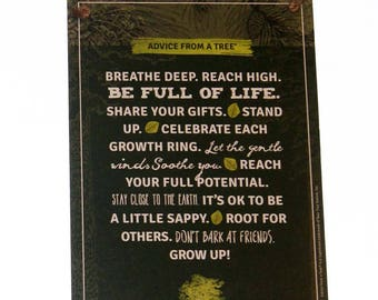 """Advice from a Tree Full of Life Inspirational 5.5""""x8.5"""" Wood Plaque Sign"""