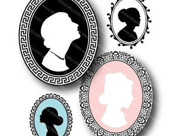Cameo Two in One Ovals for Pendants, Digital Collage Sheet, Download and Print Jpeg Images