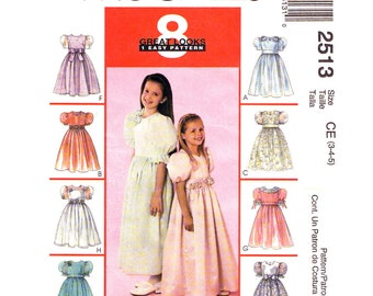 Girls Formal Dress Pattern McCalls 2513 Flower Girl Dress Puff Sleeves Party Dress & Veil Sewing Pattern Size 3 4 5 UNCUT