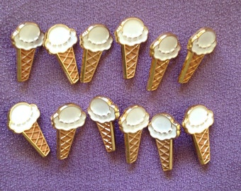 Vintage *JHB* Ice cream Buttons [Vanilla Cone]  Set of 12. Great for Children, Decoration,Sewing, Craft supplies, etc.