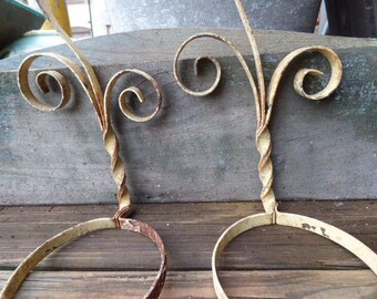 2 iron pot plant hangers Vintage wrought iron wall fence brackets shabby French Country supplies architectural salvage garden home