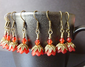 BRIDESMAIDS EARRINGS red earrings flower vintage style red bell flower wedding bridal jewelry