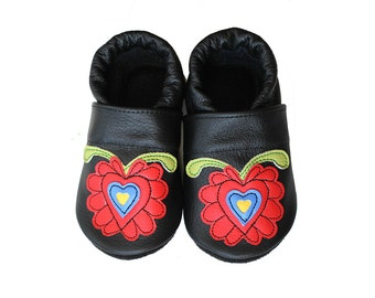 Leather Baby Booties, Hungarian Baby Shoes, Black Red Infant Newborn Nursery Children