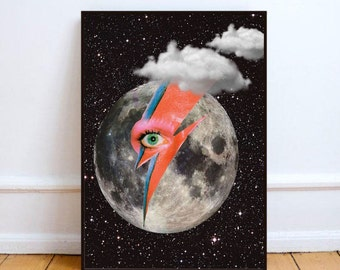 "David Bowie print, Ziggy Stardust art, moon poster, surreal art print, moon wall art print, Bowie pop art, space poster - ""Moon lightening""."