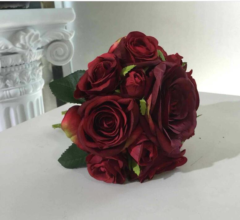 Vanrina marron bouquet fleur rose rouge fonc bordeaux bouquet for Prix bouquet de fleurs