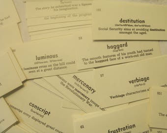 50 English Vocabulary cards, Vintage vocabulary cards, English cards