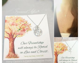 Best Friend Cross Necklace, Friendship Jewelry, BFF, Sterling Silver, Personalized Necklace, Friend Gift, Thank you gift, Set of 2, Tree, BF