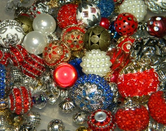 NEW Jesse James beads 20 Red/White/Blue Patriotic MIX Loose Assorted Random Mixed Bag of different