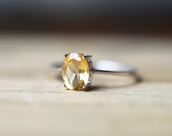 Citrine Ring, November Birthstone Ring, Yellow Gemstone Ring, Citrine Jewelry, Silver Ring, Stackable Ring, Promise Ring, Engagement Ring