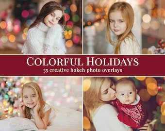 "Bokeh photo overlays ""Colorful Holidays"",  Christmas photo overlays, holiday photo overlays for Photoshop, lights overlays, bokeh overlays"