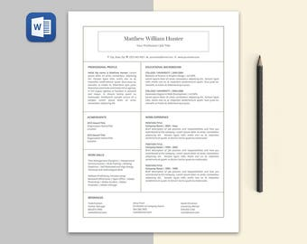 Matthew Modern RESUME Template | Custom Professional Crafted Layout for Resume + Cover Letter in Editable Word Doc File | Print Ready