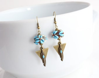 Blue and chocolate Lampwork Flower Earrings