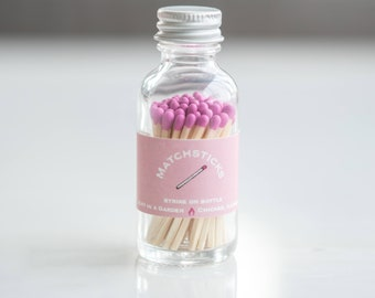 Light Pink Matchstick Jar - 60 count - colored matchsticks