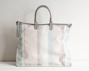 Linen and Leather Tote Bag, Linen Tote Bag with Pockets, Large Diaper Bag, Linen Bag, Beach Bag, Linen Handbag, Large Zipper Tote Bag, Gift