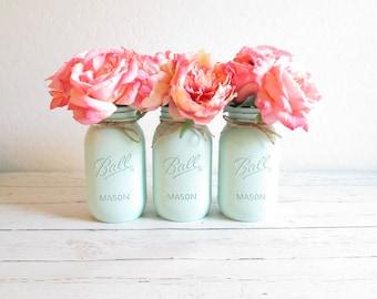 Mason Jar Decor - Painted Mason Jars - Mint Green Mason Jars - Mint Centerpiece - Mint Green Wedding Decor - Mint Flower Vases