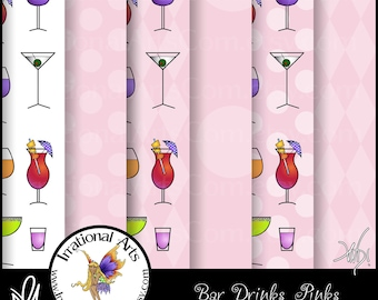 Bar Drinks Pinks Digital Scrapbooking Papers - 6 jpg files 300dpi [INSTANT DOWNLOAD]