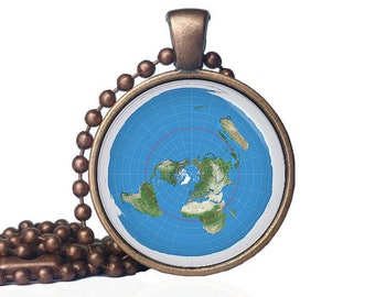 Flat Earth Map - Flat Earth Pendant - Flat Earth Society - Flat Earth Proof - Flat Earth Necklace - Azimuthal equidistant projection