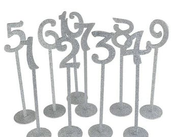 Free Shipping! 1-20 Glitter Silver Wedding Table Numbers Holders Wedding Seating Numbers Rustic Wedding Birthday Party Table Decoration