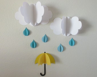 3D Wall Art, 3D Baby Room Decoration, Wall Art, 3D Clouds With Raindrops