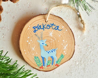 Kids Personalized Christmas Ornament. Custom Baby Boy Ornament. Deer Ornament. First Christmas Gift Baby. Woodland Ornament, Name Ornament