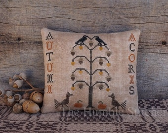 Autumn Acorns...Primitive PAPER Cross Stitch Pattern By The Humble Stitcher