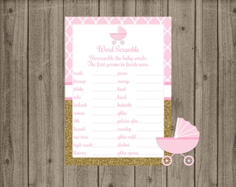Pink and Gold Word Scramble Game, Baby Carriage Baby Shower, Girls Baby Shower, Pink Gold Baby Shower, Baby Word Scramble, Baby Shower Game