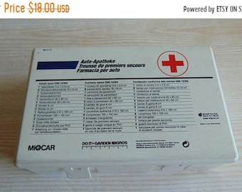 ON SALE Vintage Automobile First Aid AutoKit , Vintage First Aid Kit Box , Red Cross First Aid Plastic Box , Travel Car Kit Box , Emergency