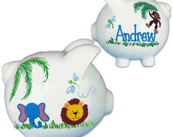 Hand Painted Personalized Jungle Animal Piggy Bank Custom baby boy girl banks with elephant lion safari animals Zoo nursery PIGG-whi63