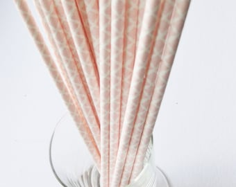 25 Paper Light Pink and White Damask Drinking Straws - Free Printable Straw Flags