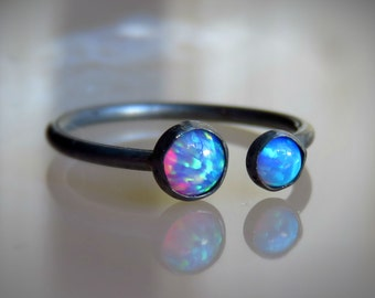 opal stacking ring - stackable ring - delicate opal ring - OXIDIZED opal RING