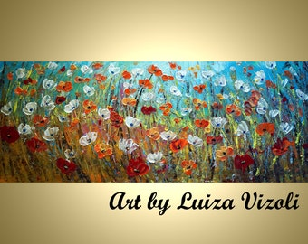 ORIGINAL Abstract HUGE 60x24 Flowers Landscape Large Painting Prairie Field by Luiza Vizoli Ready to Hang
