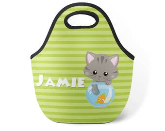 Kid Cat Lunch Tote - Lime Green Stripe Cat Lunch Bag, Kitten Cat Neoprene Personalized Lunch Tote Bag, You Pick Cat - Kids Personalized Gift