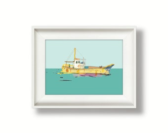 Printable art for instant download, modern boat art prints, printable boat prints, travel art illustration - Yellow Fishing Boat - 5x7, 4x6