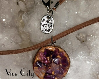 "16"" Vegan Brown ""Leather"" Rosewood & Natural Amethyst Necklace"