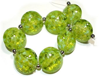 Small Greens Lentils, SRA Handmade Glass Lampwork Beads
