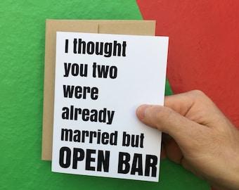 Funny Wedding Card, Funny Marriage Card, Funny Congratulations Card, Funny Congrats Card, Humor Card, Friend Card,Drinking Card,Wedding Card