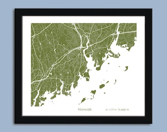 Norwalk map, Norwalk city map art, Norwalk wall art poster, Norwalk decorative map