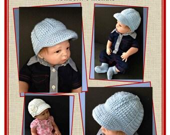 Baseball Cap Crochet Pattern for Baby Boy or Girl Newborn-6 Months