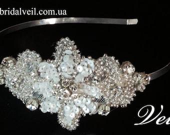 wedding crystal headbands, pearl wedding headband, rhinestone pearl bridal headband, pearl hair piece, wedding headpiece