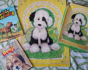 Benji the Fastest Dog in the West 1978 paperback, The New Watchdog 1973 and A Puppy to Love Hallmark Springbok Vintage puzzle.