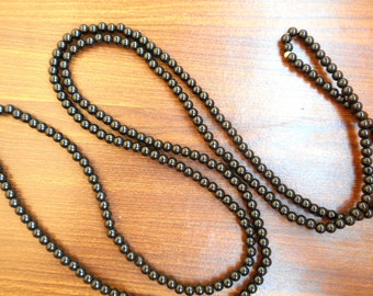 Black beaded double wrap necklace, multi strand long beaded necklace layering | Black long necklace.