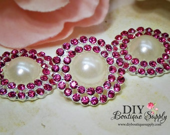 Pearl buttons with Pink  Rhinestone Crystal flatback Bridal Supplies flower centers hair bow centers invitations crystal bouquet 23mm 767065