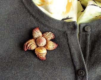 Unusual brooch. Sea Brooch. Polymer clay Brooch. Sea Flower Brooch. Ocean flower Brooch. Sea star Brooch. Unique Brooch. Pin. Unique jevelry