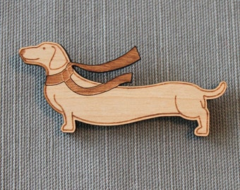 Dachshund and Scarf Pin - winter wiener dog brooch stocking stuffer