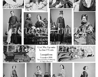 LADIES GENTS digital collage sheet Vintage Photos, Civil War women men antique steampunk Victorian fashions dresses images ephemera DOWNLOAD