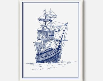 Ship Print, Blue Boat Wall Art, Nautical Art, Old Boat Poster, Old Ship Printabled, Sailor poster, Navy Art, Sailboat print, White And Blue