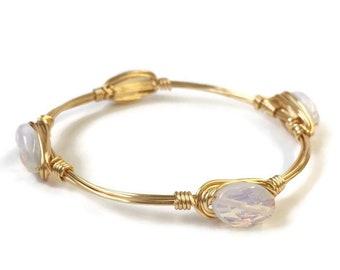 Gold Bangle - Gold Bangle Bracelet - Statement Jewelry - Wire Bangle Stone