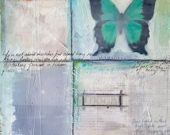 Arisen - Inner Transformation - Set of Two Paintings - Layered Background with Butterflies and Found Objects - 30 cm x 41 cm (11 in x 16 in)