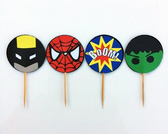 Superheros Cupcake Toppers (pk of 12)