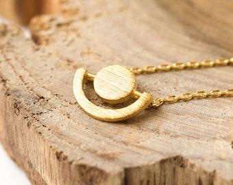 Geometric Necklace, Gold Pendant Necklace, Circle Necklace, Gold Dainty Necklace, Gold Jewelry, Minimal Necklace, Pendant Necklace N344K-G
